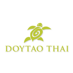 Logo of Doytao Thai restaurant with turtle and text